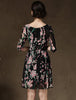 Black Half Sleeve Floral Pleated Dress