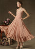 Pink Spaghetti Strap Lace Ruffle Pleated Dress