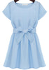 Blue Round Neck Short Sleeve Bow Ruffle Dress
