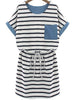 Black White Striped Short Sleeve Pocket Dress