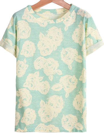 Green Short Sleeve Rose Print T-Shirt