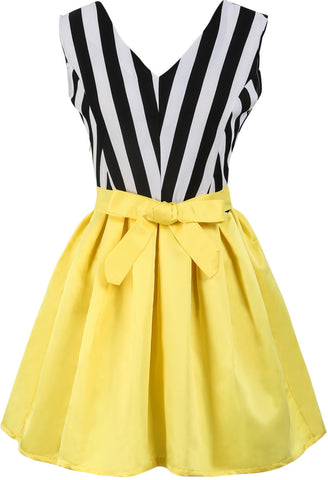 Black White Vertical Stripe Bow Contrast Yellow Dress