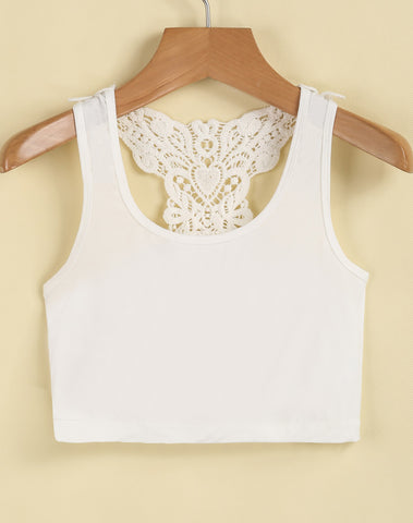 White Sleeveless Embroidered Crop Vest