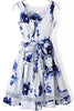 White Sleeveless Blue Floral Contrast Gauze Dress