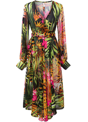 Green V Neck Long Sleeve Leaves Print Dress