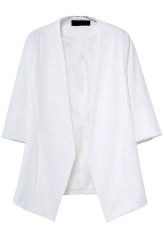 White Half Sleeve Pockets Loose Blazer