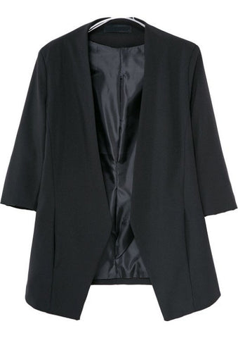 Black Half Sleeve Pockets Loose Blazer