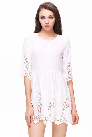 White Half Sleeve Hollow Floral Crochet Dress