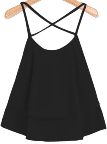 Black Spaghetti Strap Double Layers Chiffon Vest