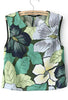 Green Sleeveless Leaves Print Crop Vest