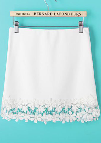 White Contrast Crochet Lace Hem Skirt