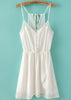 White Spaghetti Straps Buttons Front Chiffon Dress