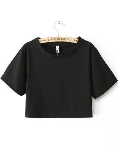 Black Short Sleeve Crop T-shirt