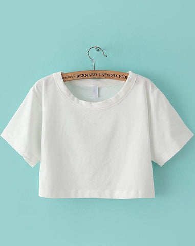 White Short Sleeve Crop T-shirt