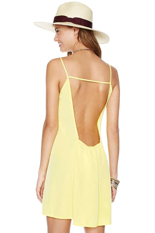 Yellow Deep V-neckline and Square Cutout Back Dress