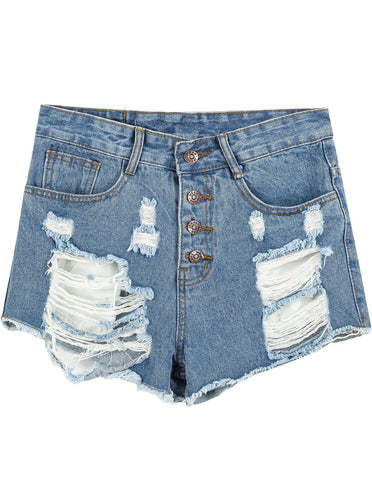 Blue High Waist Ripped Denim Shorts