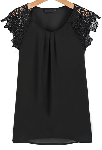 Black Round Neck Floral Crochet Chiffon Blouse