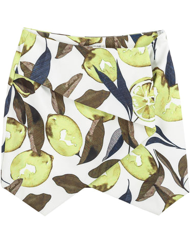 Green Lemon Print Bodycon Skirt
