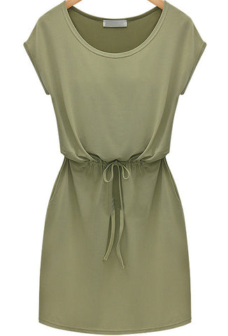Army Green Short Sleeve Drawstring Chiffon Dress