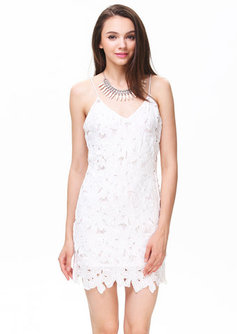 White Spaghetti Strap Deep V-back Crochet Dress
