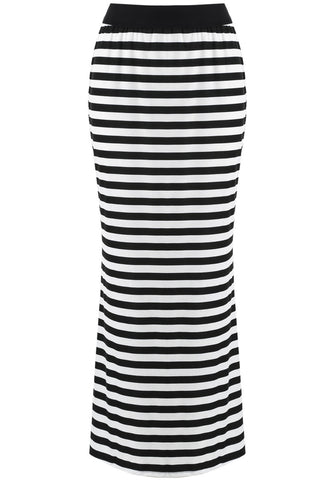 Black White Striped Slim Long Skirt