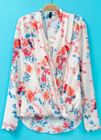 White V Neck Long Sleeve Floral Asymmetrical Blouse