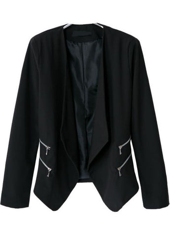 Black Lapel Long Sleeve Zipper Crop Blazer