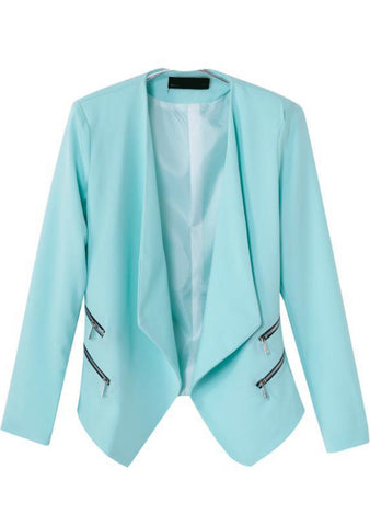 Blue Lapel Long Sleeve Zipper Crop Blazer