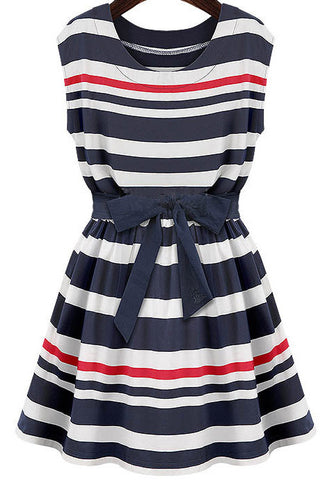 Navy White Striped Sleeveless Belt Dress