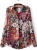 Red Lapel Long Sleeve Vintage Floral Blouse