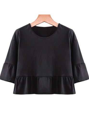 Black Short Sleeve Ruffle Loose Crop T-Shirt