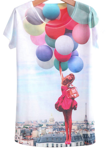 White Short Sleeve Balloon Girl Print T-Shirt