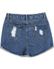 Navy Flange Ripped Denim Shorts