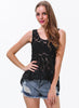 Black Sleeveless Contrast Gauze Plaid Blouse