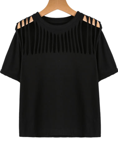 Black Short Sleeve Hollow Loose T-Shirt