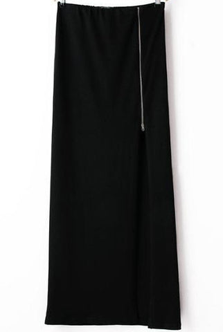 Black Zipper Split Long Skirt