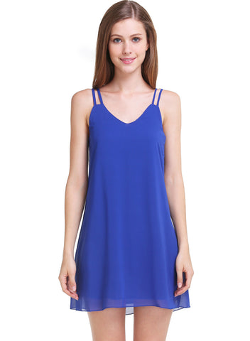 Blue Spaghetti Strap Loose Chiffon Dress