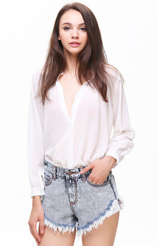 White Stand Collar Long Sleeve Chiffon Blouse