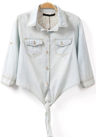 Blue Lapel Long Sleeve Crop Denim Blouse