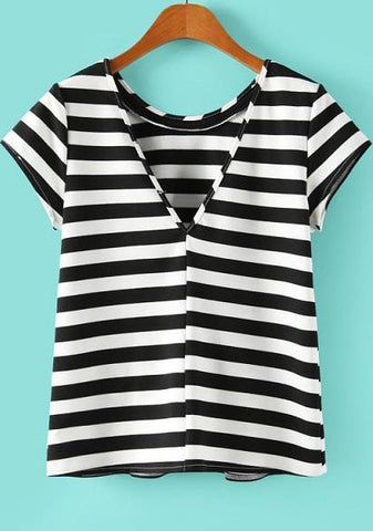 Black White Striped Short Sleeve Backless T-shirt