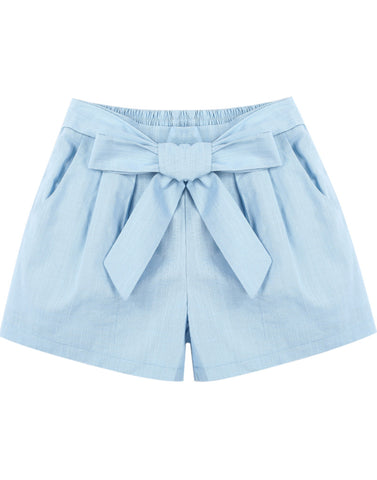 Blue Elastic Waist Bow Pockets Shorts