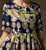 Navy Short Sleeve Floral Coins Print Dress
