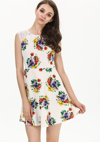 White Contrast Lace Shoulder Sleeveless Floral Dress