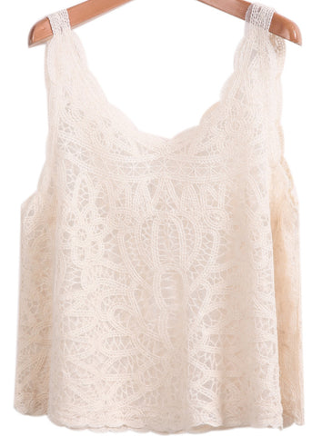 Apricot Sleeveless Embroidered Lace Vest