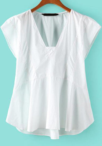 White V Neck Sleeveless Loose Blouse
