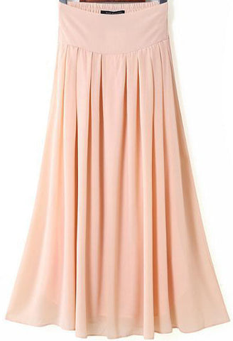 Pink Elastic Waist Pleated Maxi Skirt
