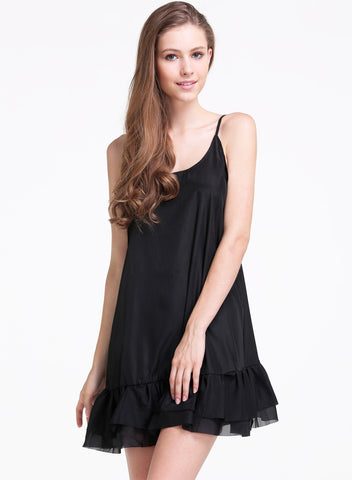 Black Spaghetti Strap Ruffle Backless Chiffon Dress