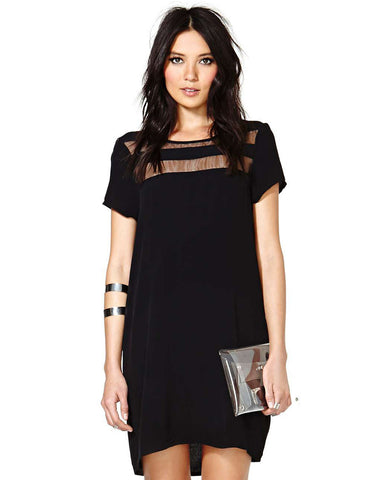 Black Contrast Sheer Short Sleeve Loose Dress