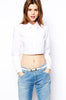 White Lapel Long Sleeve Crop Blouse