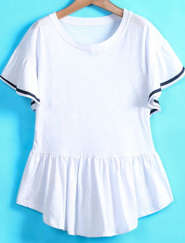 White Short Sleeve Contrast Trims Ruffle T-Shirt